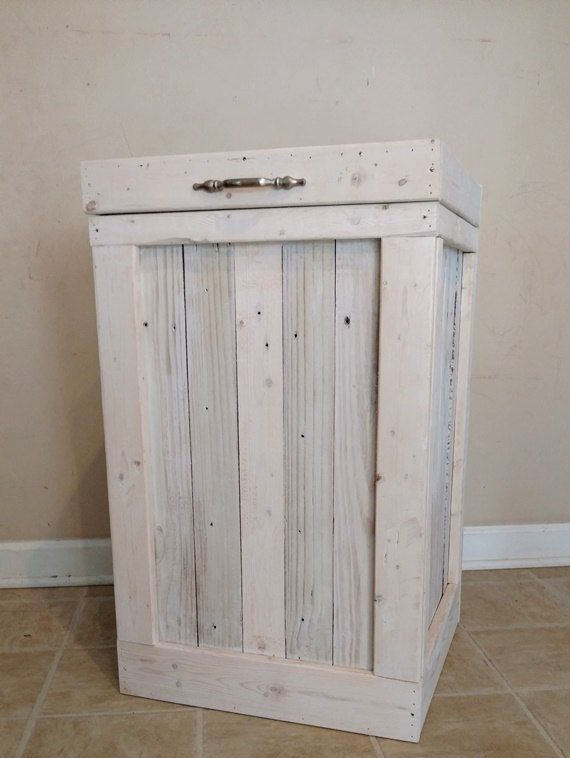 Wood Trash Bin, Kitchen Trash Can, Wood Trash Can, White Washed, Country…