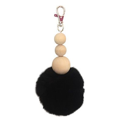 Fur and Wooden Bead Keyring | Pony Lane