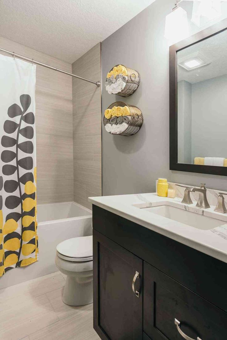 Best 25 grey bathroom cabinets ideas on pinterest master bath master bath remodel and for Black yellow and gray bathroom