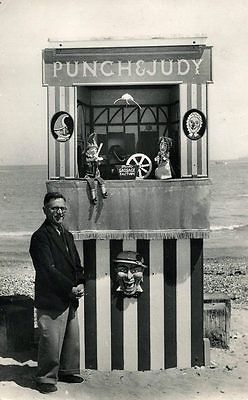 PUNCH and JUDY booth at Dorset - Ernest Brisbane's Punch & Judy Show postcard