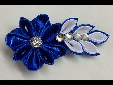 ▶ DIY Kanzashi flower hairclip,how to make, kanzashi flower tutorial,kanzashi flores de cinta - YouTube