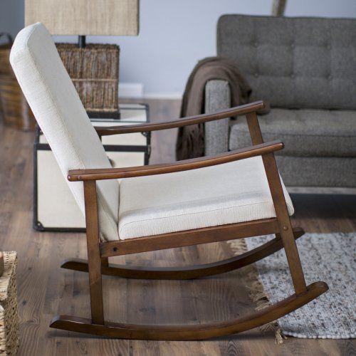 Belham Living Holden Modern Indoor Rocking Chair   Upholstered    Buttercream   Indoor Rocking Chairs At Hayneedle