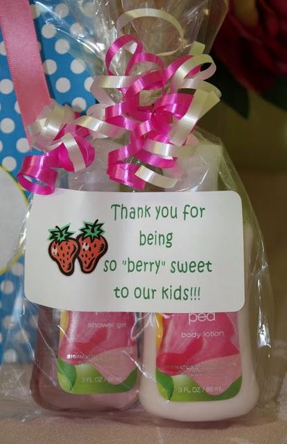 "Teacher Gift Idea - Thank you for being so ""berry"" sweet.  This would be a good gift for classroom helpers & you can use anything berry themed in the baggie even chocolate dipped strawberries.  :-)"