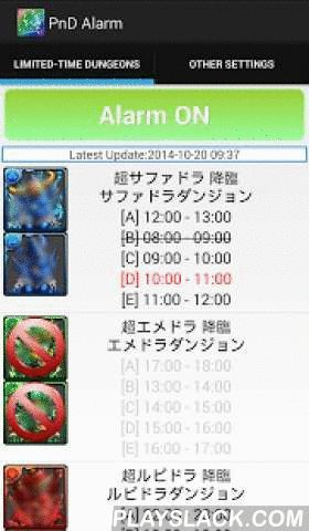 PnD Alarm  Android App - playslack.com ,  PnD Alarm is an application with alarm function, which provides the limited-time dungeon information daily, including Dungeons of King Sapphire Dragons and Dungeon of King Carnival, etc. , to remind you to enter the game in a limited time. After install this application and switch on the alarm, you will be beneficial for entering the limited-time dungeons in time or saving times on doing some tedious tasks every day, such as check the events by…