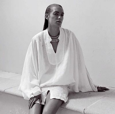 linen....with its roomy fit and long sleeves, this is what  to wear in the summer heat