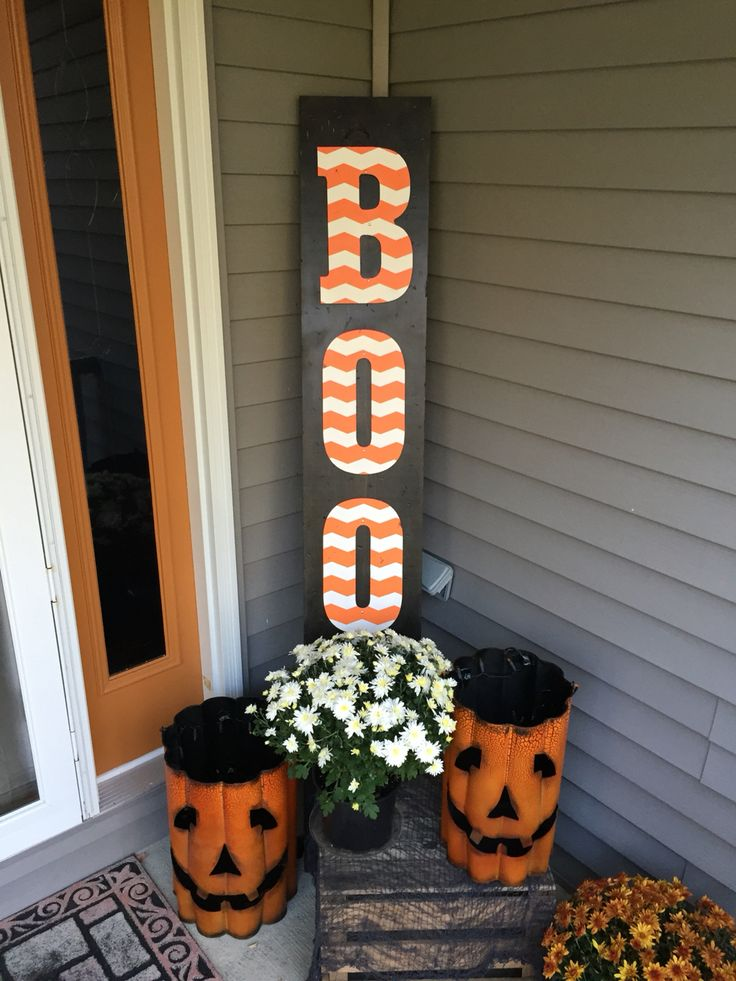diy wooden halloween boo sign hobby lobby wooden letters frog chevron tape - Craft Halloween Decorations