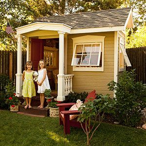 A playhouse that's a small model of a real house, with real dishes and furniture. Dreamy! via Parents