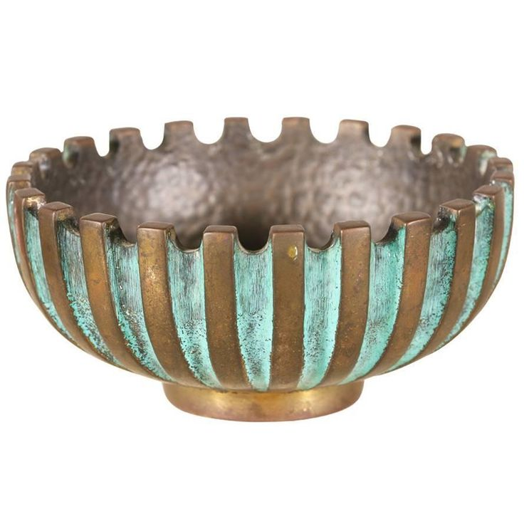 Maurice Ascalon Modernist Verdigris Bronze Ash Tray Bowl for Pal-Bell | See more antique and modern Boxes at https://www.1stdibs.com/furniture/decorative-objects/boxes