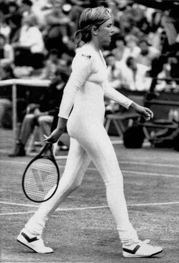 June 28,  1985: WIMBLEDON DRESS CONTROVERSY  -   Tennis player Anne White of the U.S. is shown in a tight fitting body suit, which she is banned from wearing in her resumed match against fellow American Pam Shriver.