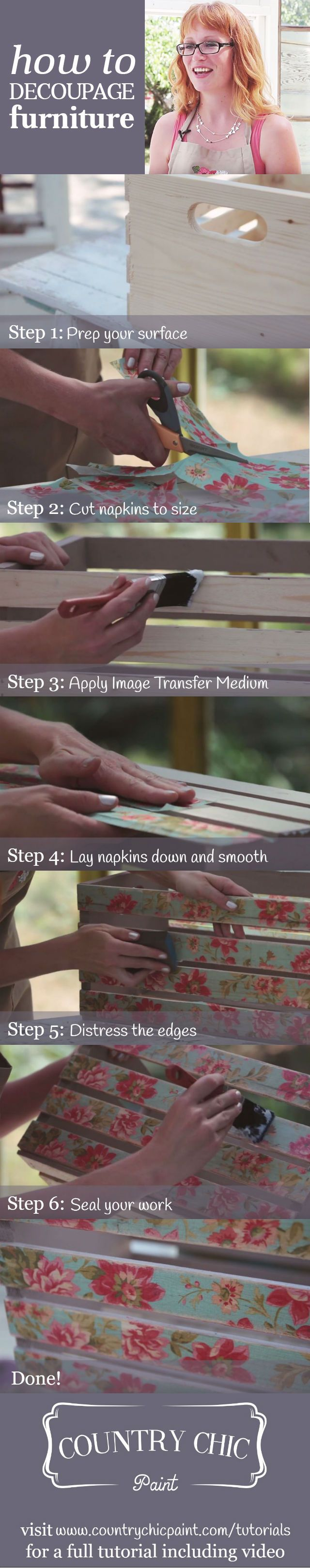 How to Decoupage Furniture & Home Decor with Image Transfer Medium   Decoupaging Tutorial #countrychicpaint - www.countrychicpaint.com/tutorials