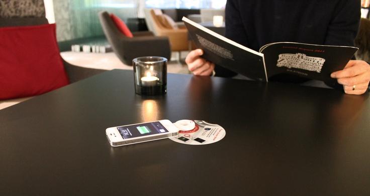 Radisson Blu hotel lobby with PowerKiss wireless charging spots