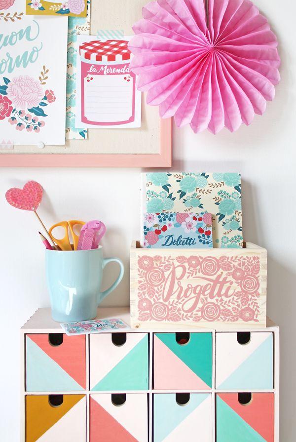 giochi di carta: Craft Room storage: le scatole di legno Gusto Menta