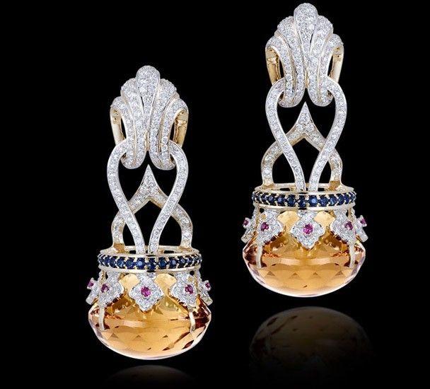 Citrine crown earrings with ruby, sapphire, and diamonds set in 18k yellow gold. #CitrineEarrings #ShaunaGiesbrecht #VonGiesbrechtJewels