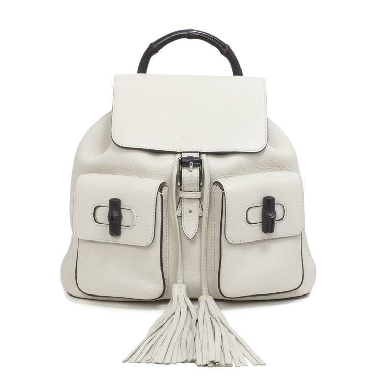 Gucci White Pebbled Leather Bamboo Backpack - modaselle