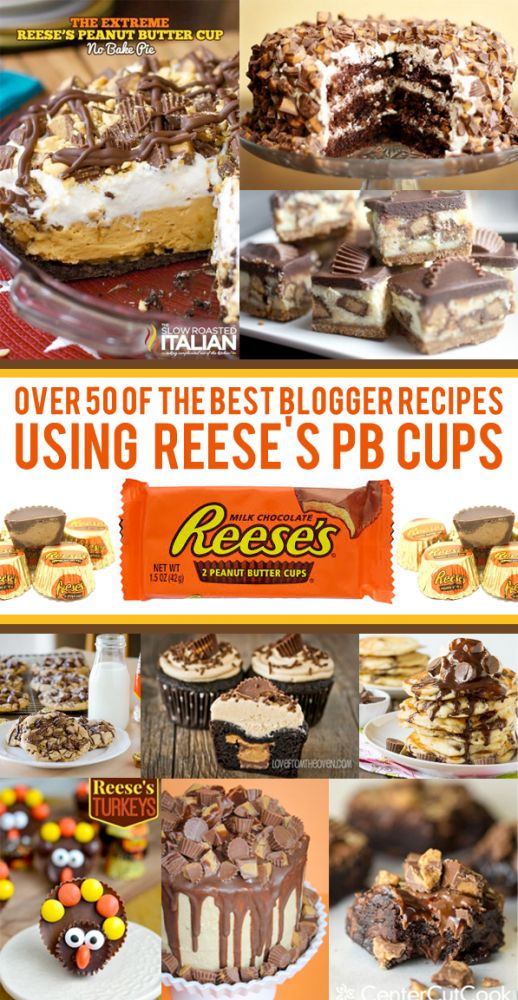 Over 50 Delicious Recipes Using Peanut Butter Cups. Great for using up Halloween candy or any time you are craving peanut butter and chocolate!