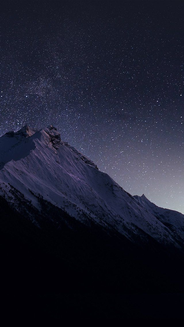 Mountain Night Snow Dark Star iPhone 5s wallpaper New
