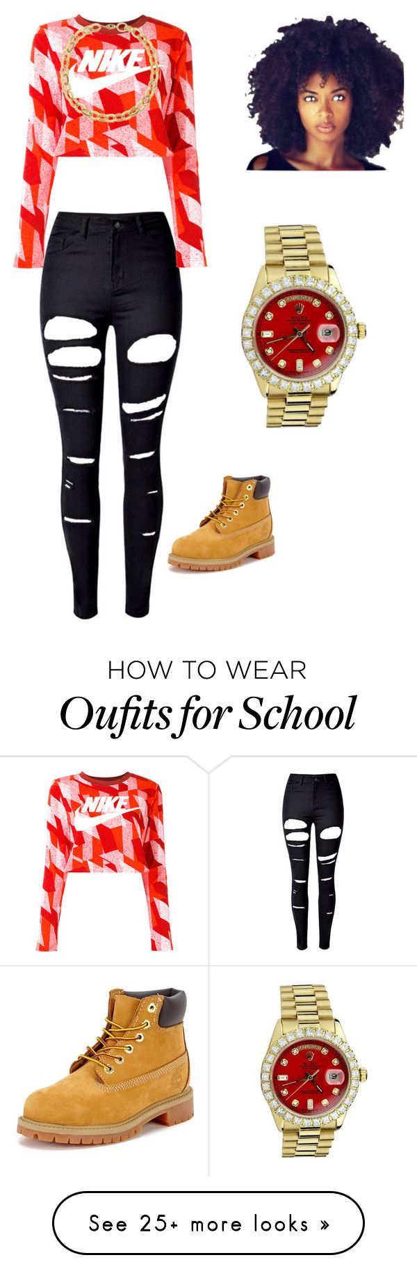 """""""School dat"""" by trapgoddess-i on Polyvore featuring WithChic, NIKE, Timberland, Laundry by Shelli Segal and Rolex"""