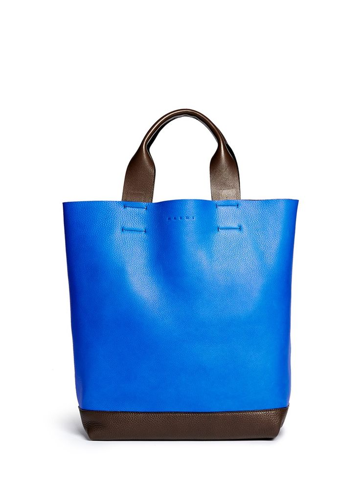MARNI - Colourblock leather tote in blue and brown | Multi-colour Tote Bag | Lane Crawford