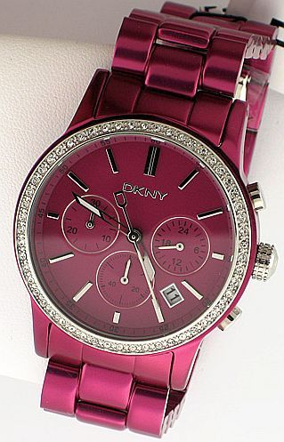 DKNY Ladies Watch  (Pink Chrono Crystal Dial Aluminum Wristwatch, Women's Pre-owned Brand Name Watches)