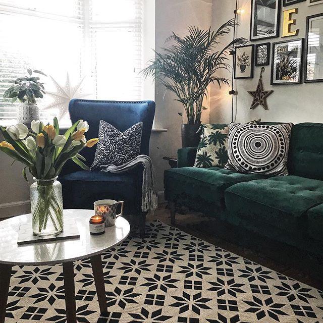 La Redoute Monochrome Rug Green Velvet Sofa Blue Velvet Chair And Gallery Wall I Velvet Sofa Living Room Green Velvet Sofa Living Room Green Sofa Living Room