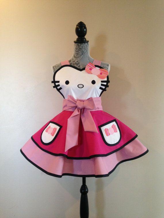 Hello Kitty  Hello Kitty Costume  Retro Apron  by AriaApparel