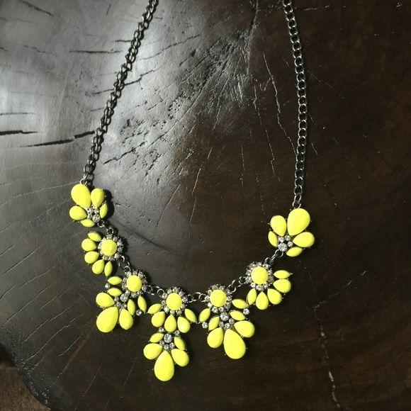 "Bib Choker Canary Yellow Flower Statement Necklace Bin Choker Yellow Flower Statement Necklace. 17.5"" long. Jewelry Necklaces"