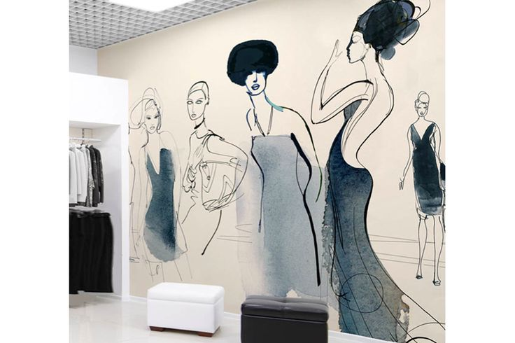 Watercolor illustration for wallpaper, showroom, women and fashion accessories