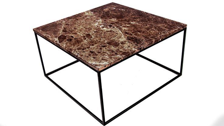 Brunt marmorbord. Soffbord, marmor, stålram, vardagsrum. http://sweef.se/bord/174-jaguaren-soffbord-i-marmor-75x75cm.html