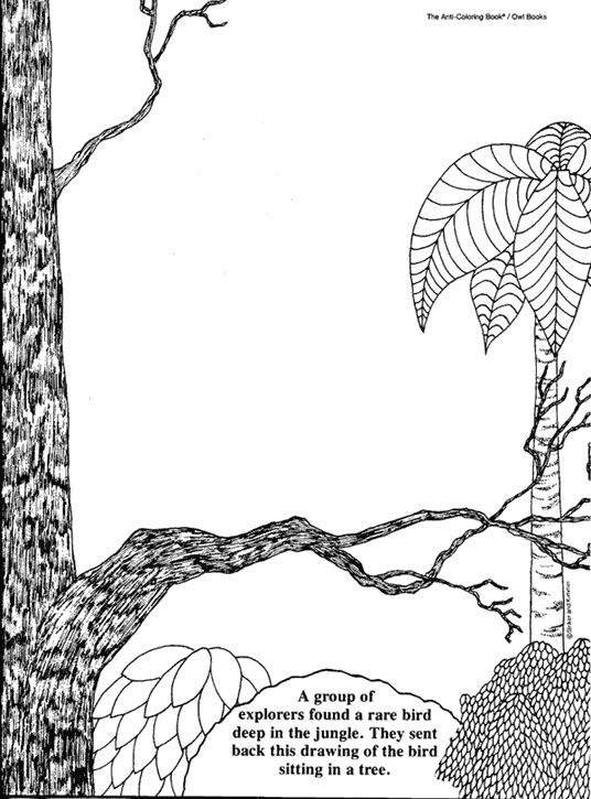 "Here's just one example of Striker's ""Anti-coloring"" book.  Just enough background art to encourage creativity."