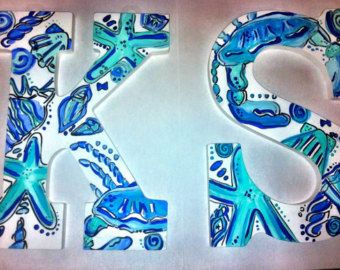 lilly pulitzer hand painted wooden letters deep blue sea pattern