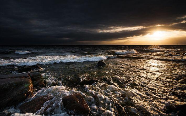 Hämta bilder sunset, havet, kusten, vågor, kväll, seascape