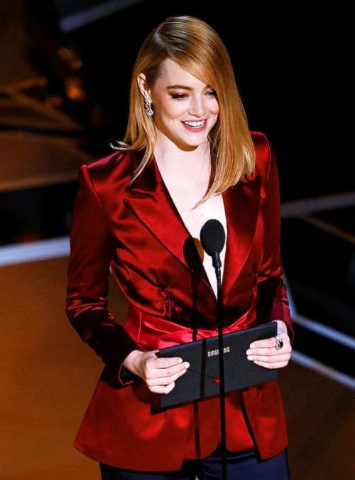 Emma Stone presenting Best Director to Guillermo del Toro at the 90th Academy Awards, Los Angeles | March 4, 2018