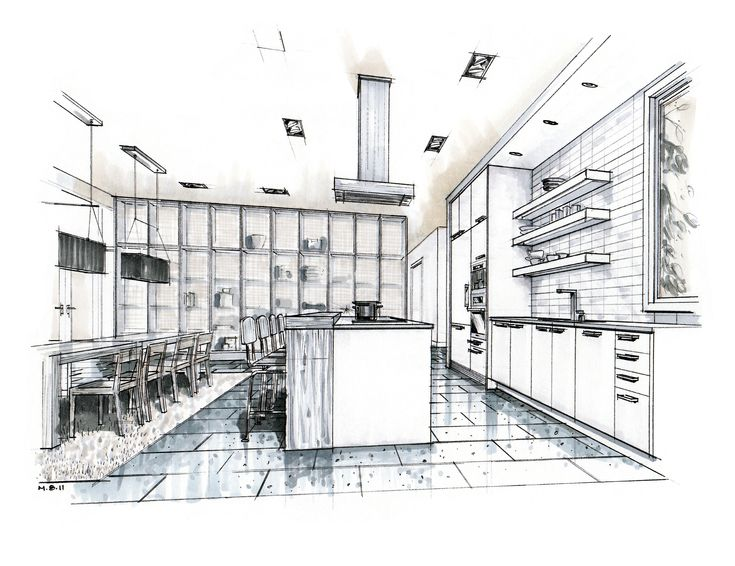 Hand Drawn Perspective Rendering Hand Rendering Mick Ricereto Interior Product Design