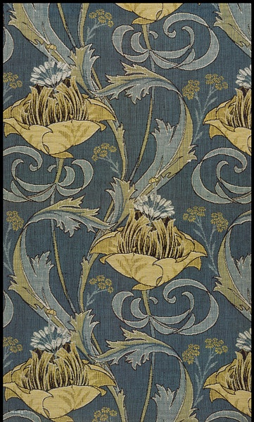 Kimberley, a Jacquard woven cotton furnishing fabric by Harry Napper, ca.1902 for Silver Studio