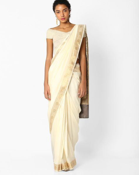 Buy Cream & Grey Amori Saree with Contrast Pallu | AJIO