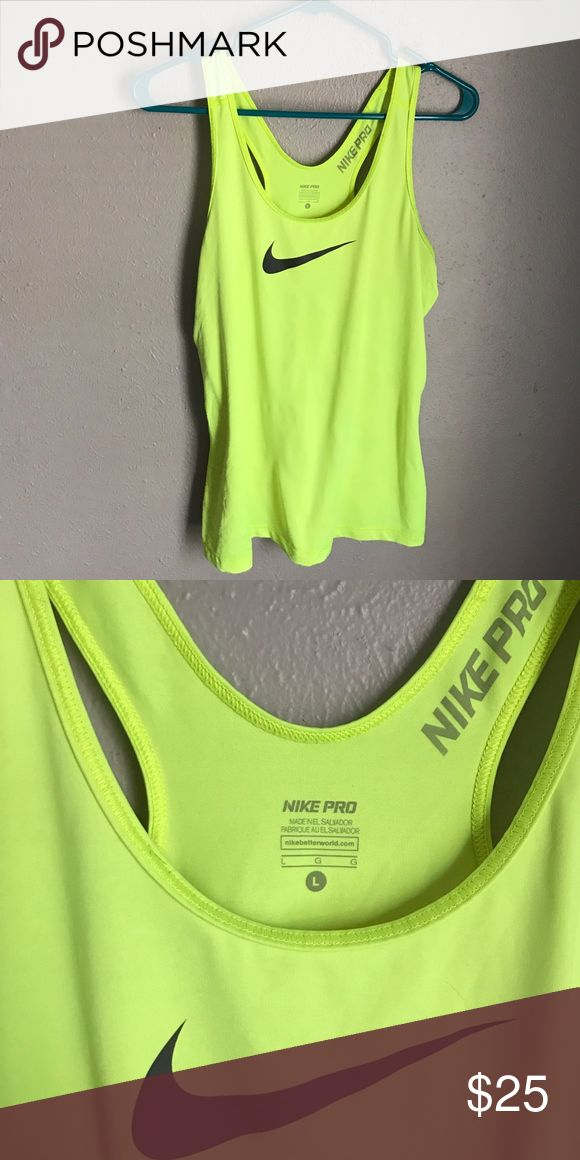 NIKE Pro TOP💪🏼 Nike pro neon yellow top. Size L. Great workout gear. Worn once. Nike Tops