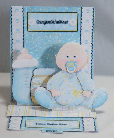 new baby boy pop up slider card kit on Craftsuprint designed by Michelle Johnson - made by Hazel Pepper - I printed all of the sheets onto photo paper and sheets c, d
