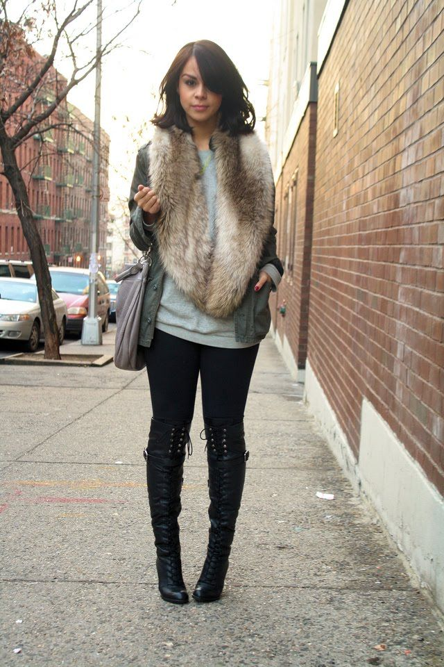 Yes to the boots! Ms. Style and Grace: Fall Fashion Trend: Faux Fur Scarves