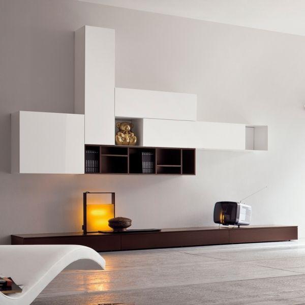 modulares bücherregal braun weiß dall agnese Wohnzimmer - wandgestaltung wei braun