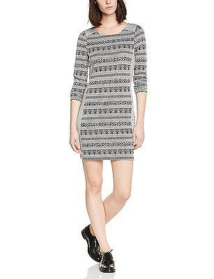 10, Black - Noir (Black/White Aztec), Vero Moda Women's Vmclover L/s Short Dress