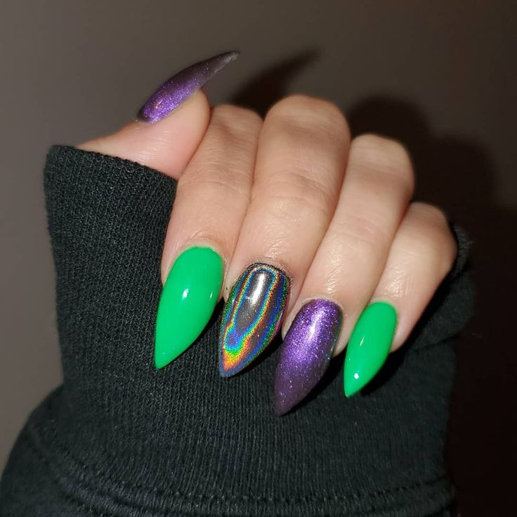 Halloween nails with black holo, slime green and purple ...