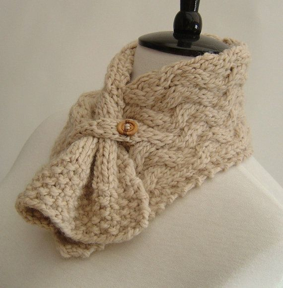 Knitting Pattern Neckwarmer Scarf Easy Cable Knit PDF Digital Delivery