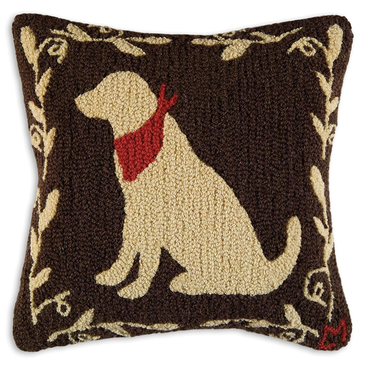 Black Lab Throw Pillow : Yellow lab pillow Hand-hooked wool pillows Pinterest Throw pillows, Yellow and Products