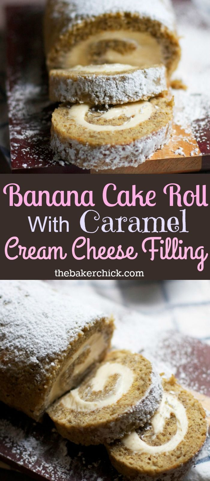 Banana Cake Roll With Caramel Cream Cheese Filling