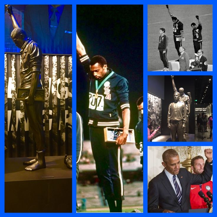 1968 Olympics Black Power Salute. The statues of these courageous men in The National African American History and Culture Museum. The POTUS gives his black power salute as they were among the honorees invited to the White House.