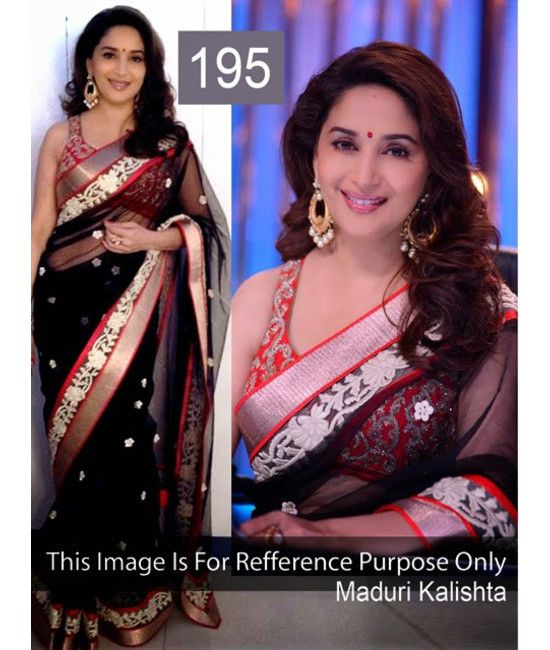 Bollywood Designer Madhuri Dixit Black Net Bridal Saree