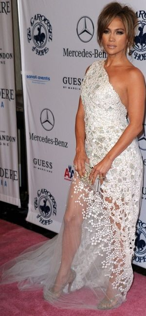 Who made Jennifer Lopez's crystal pumps and gown that she wore to the 32nd Anniversary Carousel of Hope Gala at the Beverly Hilton Hotel on October 23, 2010?