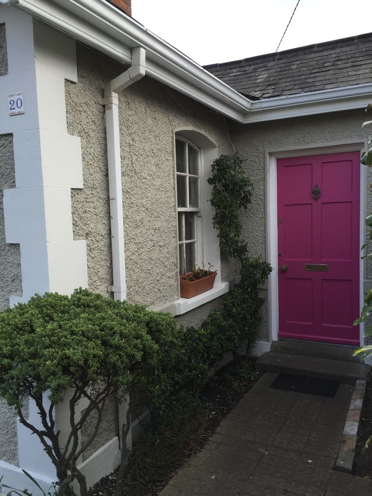 Pink front door paint colour little greene mischief - Exterior concrete wall paint colors ...