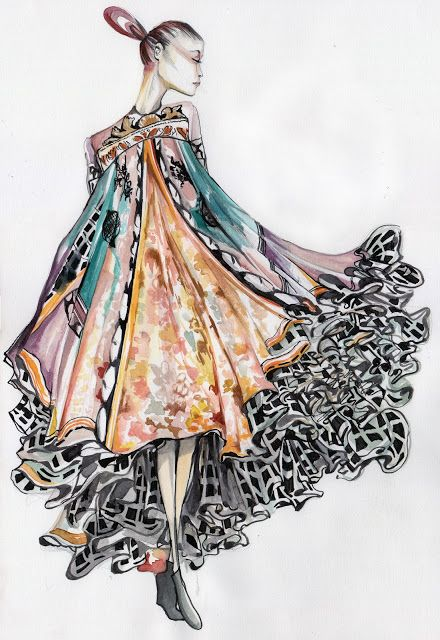 Fashion Illustration, Mary Katrantzou, Watercolour