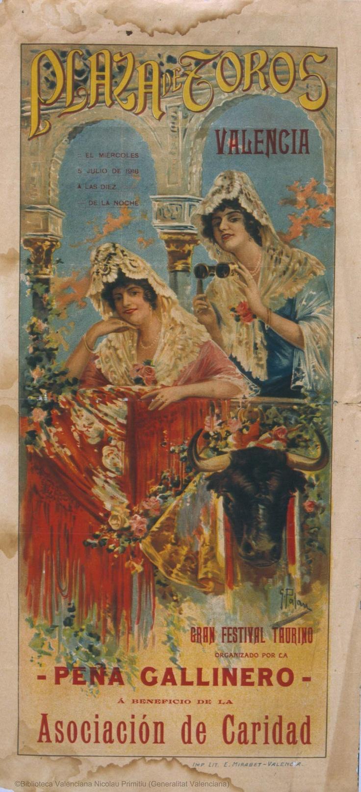 Plaza de Toros Valencia : El miercoles 5 julio de 1916 ... : Gran festival taurino ... [S.l. : s.n., 1916?] (Valencia : E. Mirabet). 1 lám. (cartel) : col. ; 49 x 22 cm